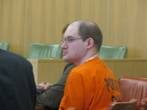 Andrew Pray sits in Portage County court (PHOTO: Larry Lee, WSAU)