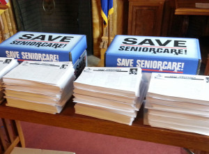 Save SeniorCare petitions (Photo: Andrew Beckett)