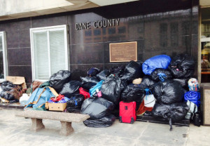 Property piled outside of a Madison government building. (Photo: Bob Hague)