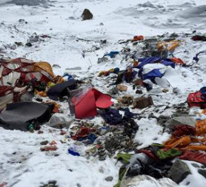 Damage at Mt. Everest base camp. (Photo: Climbing for Hospice)