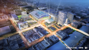 An artist's concept of the new Milwaukee Bucks arena.