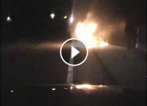 Vehicle fire on police squad dash cam