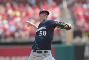 Milwaukee Brewers starting pitcher Mike Fiers delivers a pitch to the St. Louis Cardinals in the third inning at Busch Stadium in St. Louis on April 16, 2015. St. Louis won the game 4-0.  Photo by Bill Greenblatt/UPI