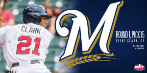 Brewers select Trent Clark with 15th pick in baseball's amateur draft.