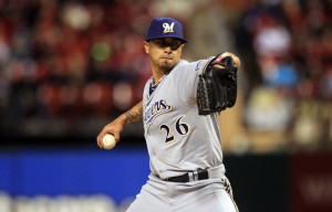 Brewers pitcher Kyle Lohse:  Photo - UPI/Bill Greenblatt