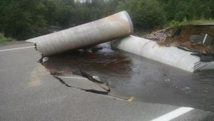 Flood damage to a road. (Photo: WI Emergency Management)