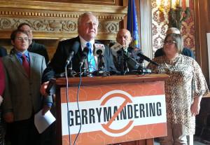 Democrats reintroduce redistricting bill. (Photo: Andrew Beckett)