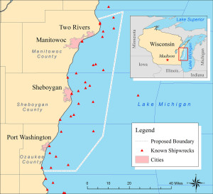 A map of the proposed national marine sanctuary on Lake Michigan. (Image: NOAA)