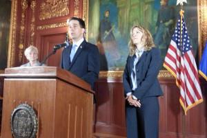 Gov. Scott Walker announces his appoint of Rebecca Bradley to the Supreme Court. (Photo: Andrew Beckett)