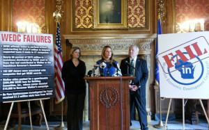 Democrats unveil corporate welfare fraud bills. (Photo: Andrew Beckett)