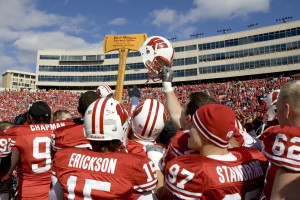 The Badgers celebrate another victory over the Gophers. (Photo by David Stluka)