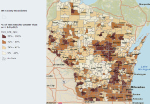Radon concentrations in Wisconsin. (Source: DHS)