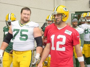 Aaron Rodgers with tackle Bryan Bulaga