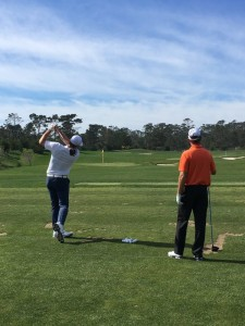 Aaron Rodgers and Jerry Kelly practicing for this week's AT&T Pebble Beach Pro-Am. Photo: PGATour