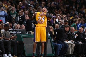 Kobe Bryant and Jason Kidd embrace before Monday nights game. Photo: Milwaukee Bucks
