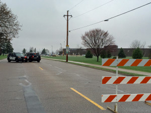 Police barricades outside Antigo High School (Photo: WXPR)