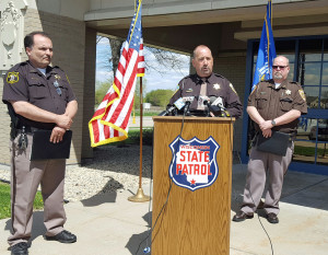 Dane County Sheriff Dave Mahoney updates media about an officer-involved shooting near DeForest Sunday. (Photo: Andrew Beckett)