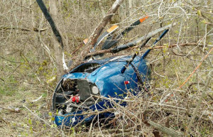 Helicopter wreckage in Manitowoc County (Photo: Manitowoc County Sheriff's Department)