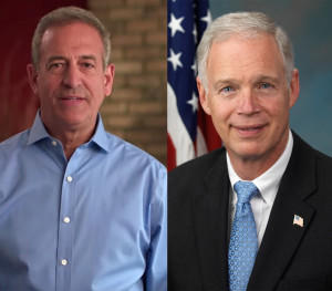Russ Feingold (left), Sen. Ron Johnson (right)