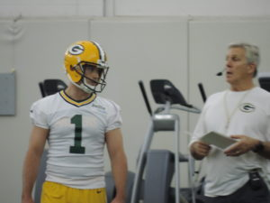 Peter Mortell talks with Special Teams Coach Ron Zook