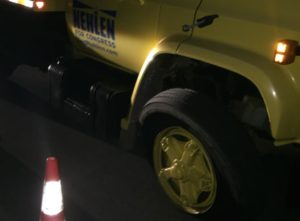 Vandalism to the truck included a flattened tire (Photo: Paul Nehlen for Congress)