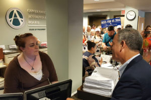 Democrat Russ Feingold delivers his nomination papers to the GAB in  Madison. (Photo: Andrew Beckett)