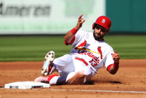 Cardinal Matt Carpenter with another three-hit day against the Brewers. Photo by Bill Greenblatt/UPI
