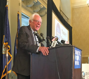 Sen. Bernie Sanders addresses Wisconsin delegates in Philadelphia (Photo: O. Kay Henderson)