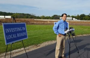 Gov. Scott Walkers talks about the DOT budget request. (Photo: Andrew Beckett)