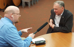 WRN's Andrew Beckett with Democratic VP candidate Tim Kaine. (Photo: WRN)