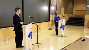 Rep. Sean Duffy (left) and Prof. Mary Hoeft (right) debate for the 7th Congressional seat in Wausau. (PHOTO: Zach Hagenbucher)