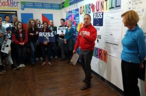 Russ Feingold talks to campaign volunteers in Madison. (Photo: Andrew Beckett)