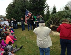Whispering Pines Tree Farm held a tree cutting ceremony Tuesday. (Photo: DATCP)