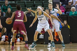 Jessica Lindstrom (21) leads Green Bay's defense. PHOTO: Courtesy of Green Bay Athletics.